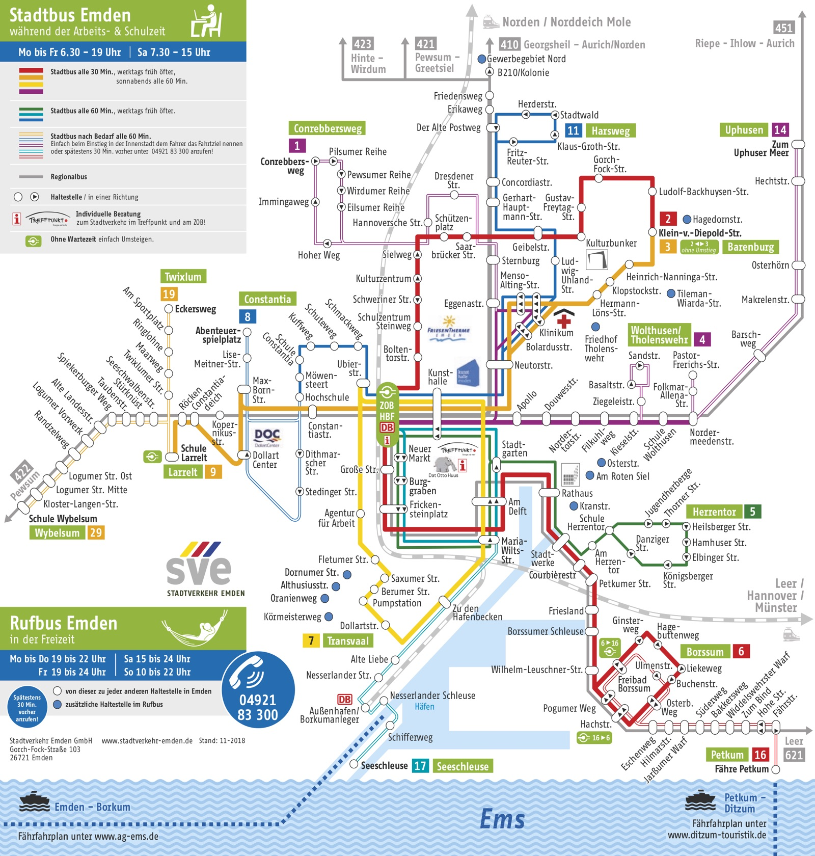 Emden Karte.Fahrplanauskunft Stadtwerke Emden